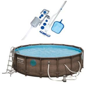 16 ft. x 16 ft. Round 48 in. Deep Metal Frame Power Vista Pool Set with Vacuum and Maintenance Kit