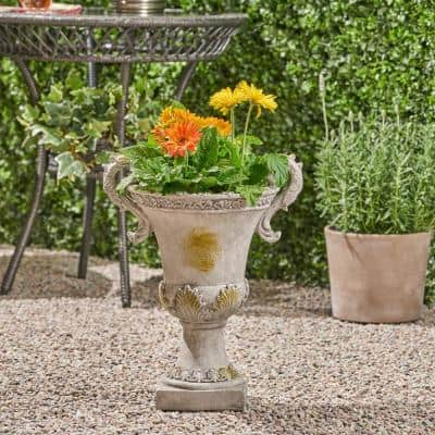 Delphine 15.5 in. x 11.25 in. Grey with Moss Lightweight Concrete Outdoor Garden Urn Planter with Frond Accents