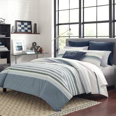 Lansier 3-Piece Gray Striped Cotton Full/Queen Comforter Set