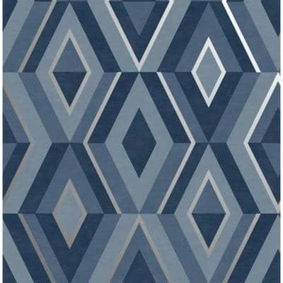 Shard Blue Geometric 20.5 in. x 33 ft. Unpasted Peelable Paper Wallaper