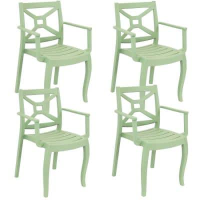 Tristana Plastic Outdoor Patio Arm Chair in Green (Set of 4)