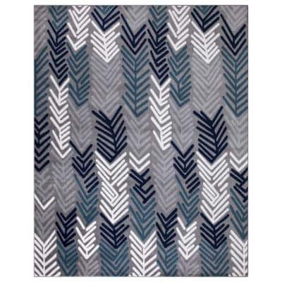 Jasmin Collection Contemporary Floral Design Gray and Navy 7 ft. 8 in. x 9 ft. 8 in. Area Rug