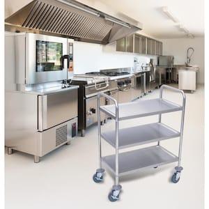 26 in. x 16 in. 3-Shelf Stainless Steel Cart in Silver