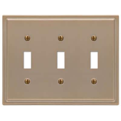 Moderne 3 Gang Toggle Steel Wall Plate - Brushed Bronze