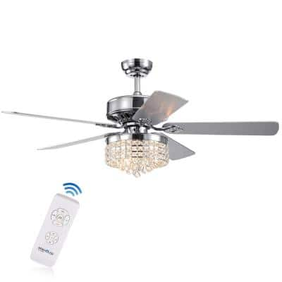 Letta 52 in. Chrome Indoor Remote Controlled Ceiling Fan with Light Kit