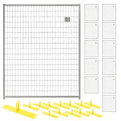 6 ft. x 60 ft. 12-Panel Silver Powder-Coated Welded Wire Temporary Fencing