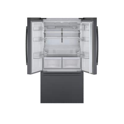 800 Series 36 in. 21 cu. ft. French 3 Door Refrigerator in Black Stainless Steel Dual Compressor, Counter-Depth