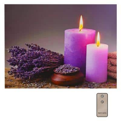 Battery Operated Lighted Wall Art - Lavender and Candles