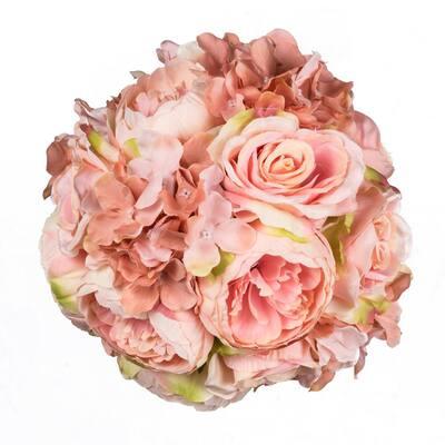 10 in. Peony Peach Hydrangea Rose Mix Ball