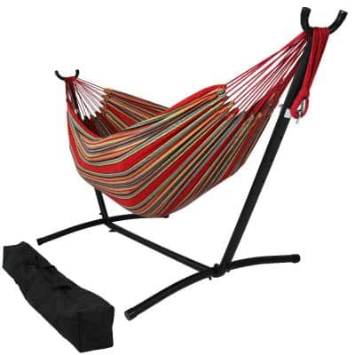 10.5 ft. Fabric Cotton Double Brazilian Hammock with Stand Combo in Sunset