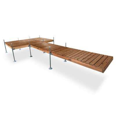24 ft. L with 8 ft. x 12 ft. Platform Style Cedar Complete Dock Package