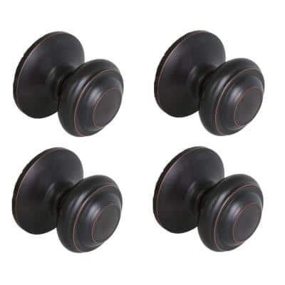 Madrid Aged Bronze Hall and Closet Door Knob (4-Pack)