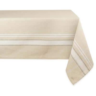 Chambray 60 in. x 104 in. Taupe with White French Stripe Cotton Tablecloth
