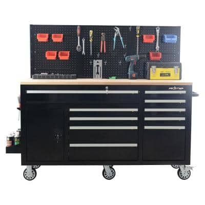 62 in. 10-Drawer Black Tool Chest Cabinet with Pegboard Back Wall, Heavy-Duty Mobile Workbench