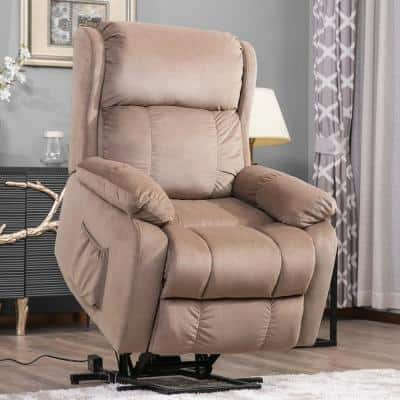 33 in. Width Big and Tall Beige Fabric Remote Control Power Lift Recliner