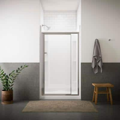 Vista Pivot II 42 in. x 65-1/2 in. Framed Pivot Shower Door in Silver with Handle