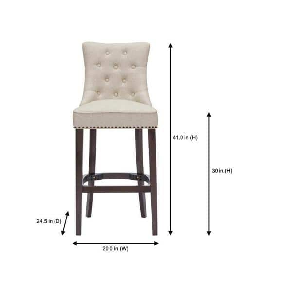 Home Decorators Collection Bardell Upholstered Tufted Bar Stool With Biscuit Beige Seat And Nailheads 20 In W X 45 47 In H 4066 30 E B The Home Depot