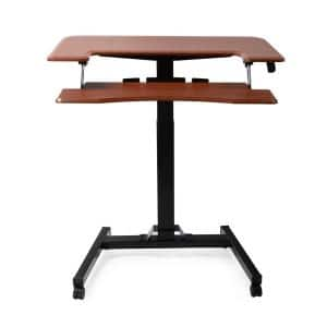 Walnut Color Pneumatic Height Adjustable Sit Stand Laptop Desk with Keyboard Holder