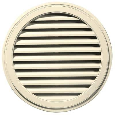 36 in. x 36 in. Round Beige/Bisque Plastic Built-in Screen Gable Louver Vent