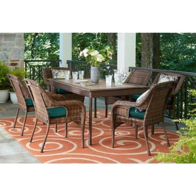 Cambridge 7-Piece Brown Wicker Outdoor Patio Dining Set with CushionGuard Malachite Green Cushions