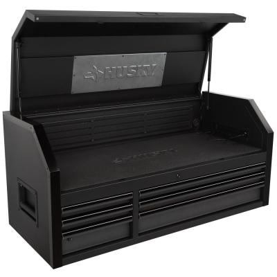 Industrial 52 in. W x 21.5 in. D 6-Drawer Matte Black Top Tool Chest with Pull-Out Work Surface and LED Light