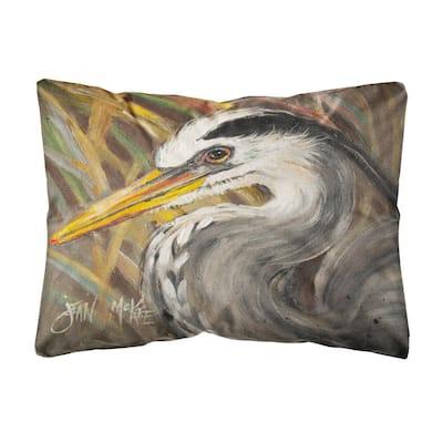 12 in. x 16 in. Multi Color Lumbar Outdoor Throw Pillow Blue Heron