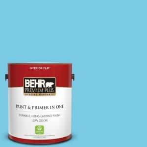 Behr Premium Plus 1 Gal P490 3 Big Chill Flat Low Odor Interior Paint And Primer In One 105001 The Home Depot