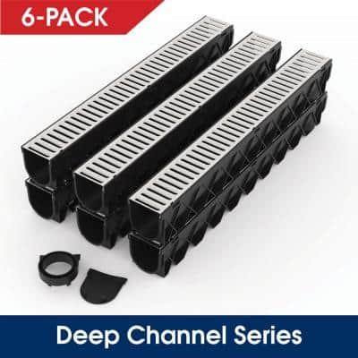 Storm Drain Series 5 in. W x 5.25 in. D x 39.4 in. L Channel Drain Kit with Galvanized Grate (6-Pack)