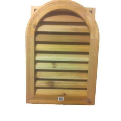 16 in. x 24 in. Round Top Wood Built-in Screen Gable Louver Vent