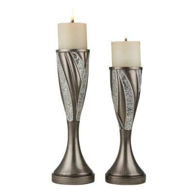 Silver Kairavi Polyresin Candleholders (Set of 2)