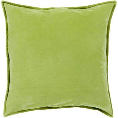 Velizh Olive Solid Polyester 18 in. x 18 in. Throw Pillow