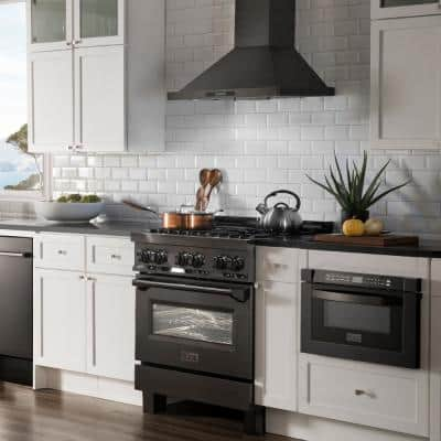 ZLINE 30 in. 4.0 cu. ft. Dual Fuel Range with Gas Stove and Electric Oven in Black Stainless Steel (RAB-30)