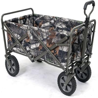 3 cu. ft. Collapsible Folding Steel Frame Outdoor Garden Cart in Gray