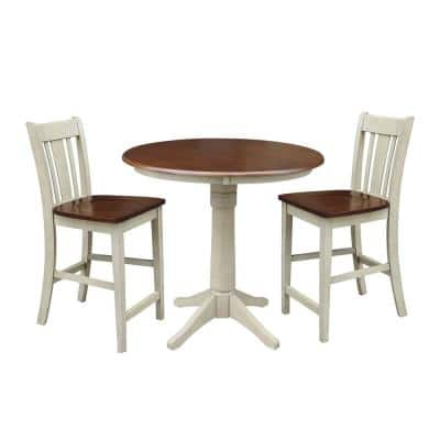 Almond and Espresso Solid Wood Gathering Table and 2-San Remo Counter Height Stools (3-Piece Set)