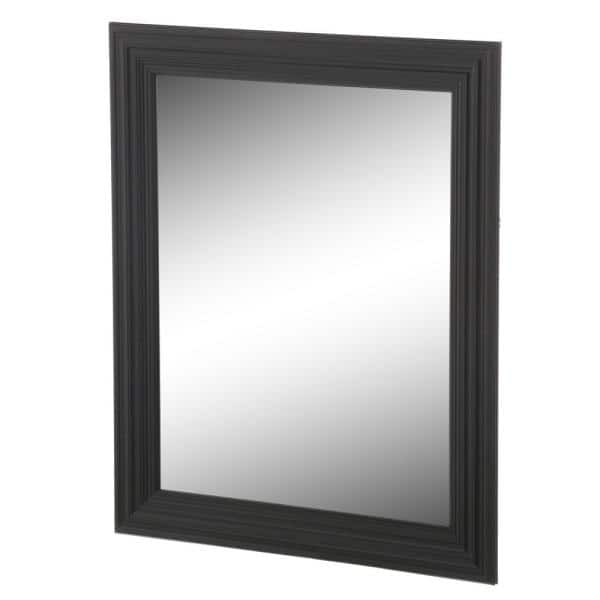 Home Decorators Collection 34 In W X 28 In H Framed Rectangular Anti Fog Bathroom Vanity Mirror In Black Finish 81164 The Home Depot