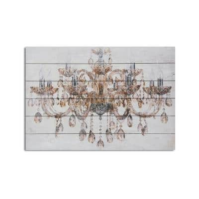 Vintage Chandelier Planked Wood Glamour Home Art Print 18 in. x 26 in.