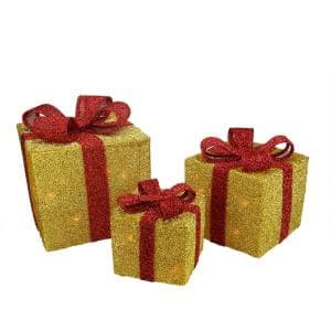 9 in. Christmas Outdoor Decorations Gold Tinsel Gift Boxes with Red Bows Lighted (3-Pack)