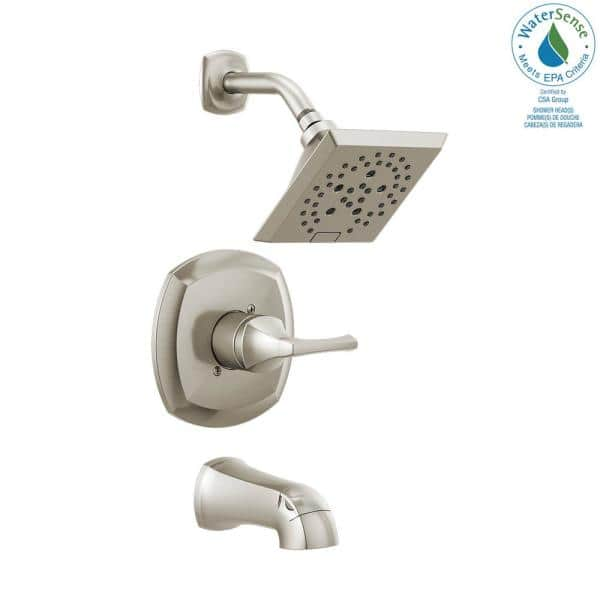 Delta Portwood Single Handle 5 Spray Tub And Shower Faucet With H2okinetic In Spotshield Brushed Nickel Valve Included 144770 Sp The Home Depot