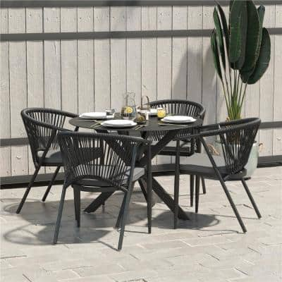 CosmoLiving by Cosmopolitan Circi 5-Piece Metal Outdoor Dining Set with Gray Cushions