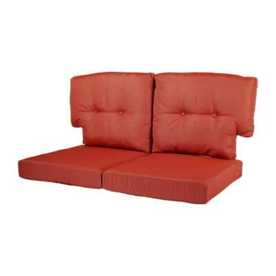 Charlottetown 23.5 in. x 26.5 in. 4-Piece Outdoor Loveseat Cushion Set in Quarry Red
