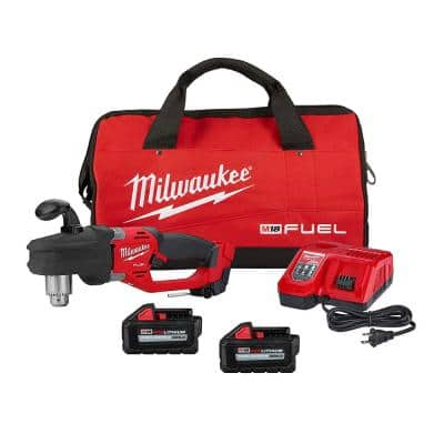 M18 FUEL 18-Volt Lithium-Ion Brushless Cordless 1/2 in. Hole Hawg Right Angle Drill Kit W/Two 6.0 Ah Batteries, Tool Bag