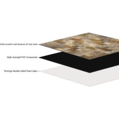 Square Stone 12 in. x 12 in. PVC Peel and Stick Tiles Backsplash Waterproof (4.9 sq.ft/pack)