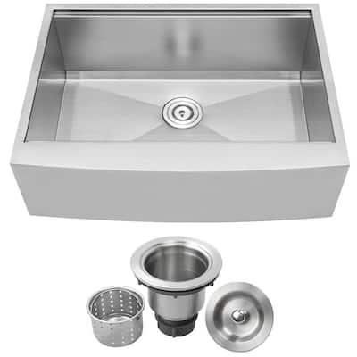 Bryce Zero Radius Farmhouse Apron Front 16-Gauge Stainless Steel 30 in. Single Basin Kitchen Sink with Basket Strainer