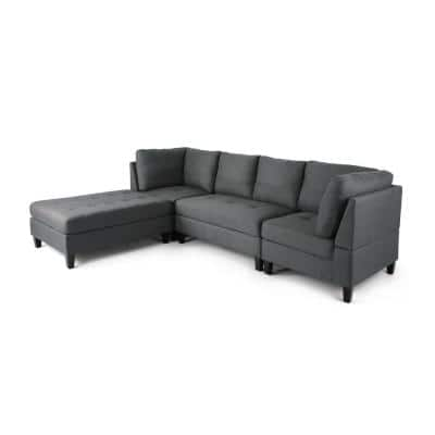 Beckett 4- Piece Dark Grey Fabric 4-Seat L Shaped Reversible Sectionals with Chaise