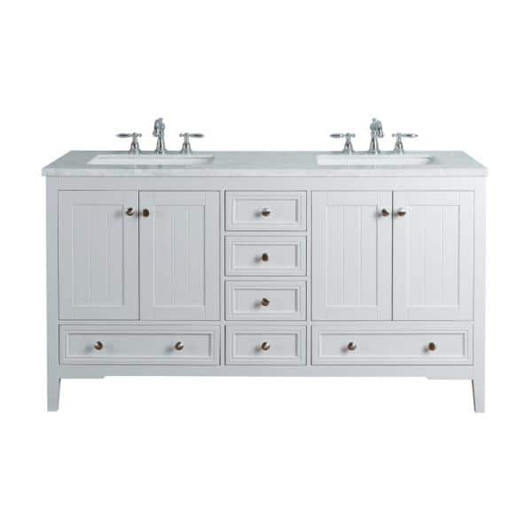 Stufurhome New Yorker 60 In White Double Sink Bathroom Vanity With Marble Vanity Top And White Basin Hd 1616w 60 Cr The Home Depot