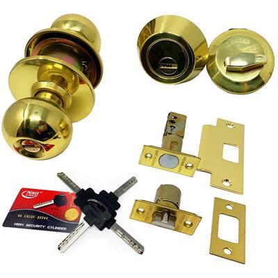 High Security Brass Combo Lock Set with Keyed-Alike Door Knob and Deadbolt
