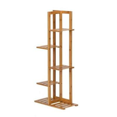41 in. Wood 41 in. H Rectangle Bamboo Indoor Plant Stand 4-Tiers
