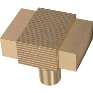 Fluted Square 1-19/32 in. (41 mm) Champagne Bronze Cabinet Knob