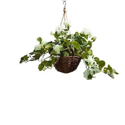 Faux White Geranium Flower Arrangement with Hanging Basket