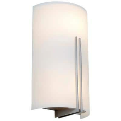 Prong 7.25 in. 2-Light Brushed Steel Wall Sconce with White Glass Shade